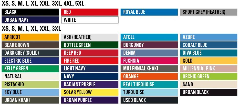 Textilgrößen von allen Textilfarben BCTU01T E150 vom T-Shirt zum Bedrucken