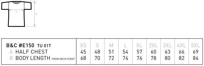 Konfektionsgrößen vom T-Shirt BC TU01T E150. Halbe Brustweite und Länge von Schulter zum Bund