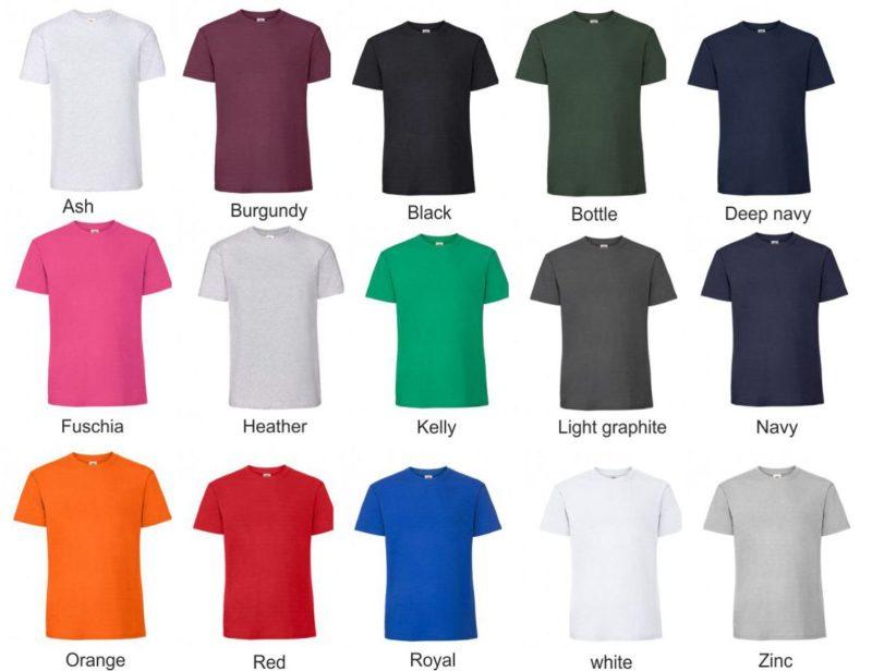 Textilfarben vom T-Shirt F185 Premium zum Bedrucken und Besticken