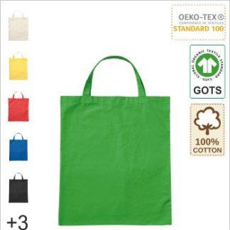 Logo drucken auf GOTS Bio Baumwolltasche mit kurze Henkel