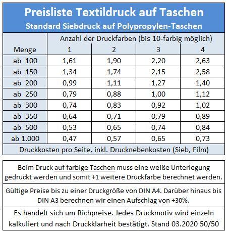 Druckpreise Taschen 2020.03.12 Polypropylen