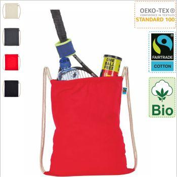 Turnbeutel Rucksack bedrucken aus bio baumwolle fairtrade im Siebdruck bedrucken