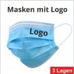 Einweg Gesichtsmaske 3-lagig mit Logo Druck